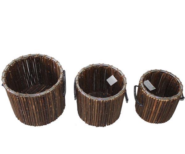 """cylindrical planter-""""柳,芦苇,芦竹,竹,芒,树皮,树梢""""园艺用品。"""